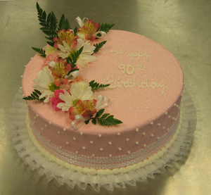 White Dots & Ribbon on Pink w/ Fresh Flowers