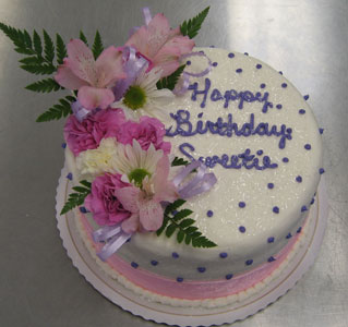 Lavender Dots & Pink Ribbon on White w/ Fresh Flowers