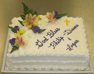Baptism Cake w/ Yellow Cross & Fresh Flowers