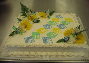 Blue, Green & Yellow Blocks on White w/ Fresh Flowers