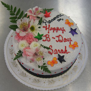 Multi Decorated Birthday Cake w/ Fresh Flowers